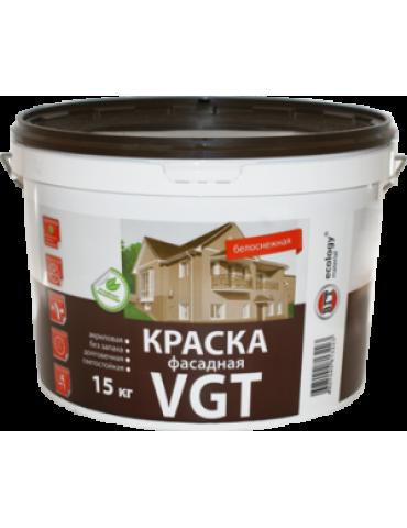 Краска VGT ВД-АК-1180 Фасадная Белоснежная, акриловая, матовая, 7кг