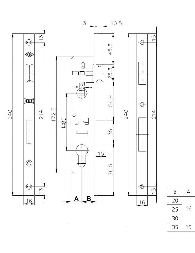 Замок KALE KILIT врезной цилиндровый, узкопрофильный, 35мм, 153/Р, хром, с защелкой