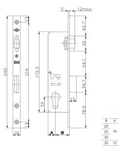 Замок KALE KILIT врезной цилиндровый, узкопрофильный, 30мм, 155, никель