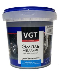 Эмаль VGT акриловая металлик, ВД-АК-1179, универсальная, серебро, 1 кг