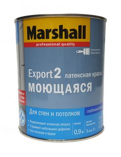 Краска MARSHALL Export 2 моющаяся латексная, для стен и потолков, глубокоматовая, база BW, 0,9л