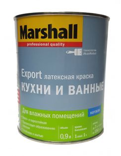Краска MARSHALL Кухни и Ванные, латексная, для влажных помещений, матовая, база BW, 0,9л