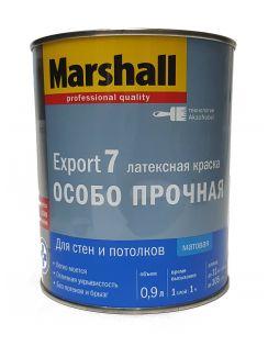 Краска MARSHALL Export 7 особо прочная латексная, для стен и потолков, матовая, база BW, 0,9л