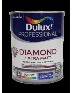 Краска DULUX DIAMOND Extra Matt для стен и потолков, глубокоматовая,база BW 1л