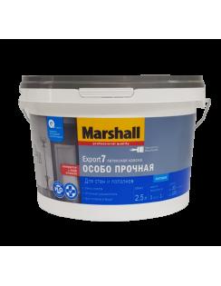 Краска MARSHALL Export 7 особо прочная латексная, для стен и потолков, матовая, база BW, 2,5л