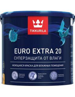 Краска Tikkurila Euro Extra 20 моющаяся для влажных помещений, 2,7л, полуматовая