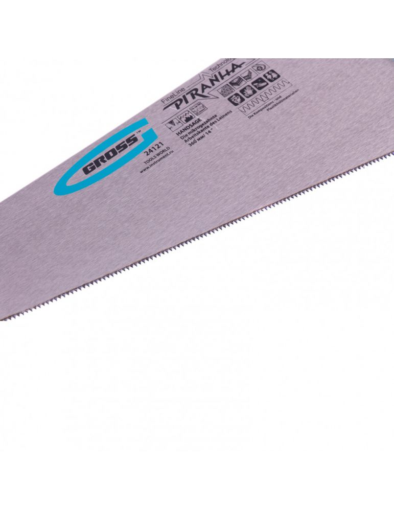Ножовка Gross Piranha по ламинату, 360мм, 15-16 TPI, зуб 3D