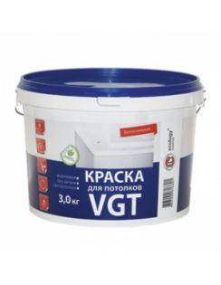 Краска VGT ВД-АК-2180 для потолков, акриловая, белоснежная, матовая, 3кг
