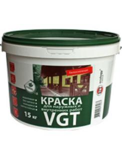 Краска VGT ВД-АК-1180 моющаяся, для внутренних и наружних работ, матовая, 15кг